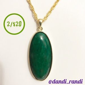 Long Gold Tone Green Oval Dangle Pendant Necklace